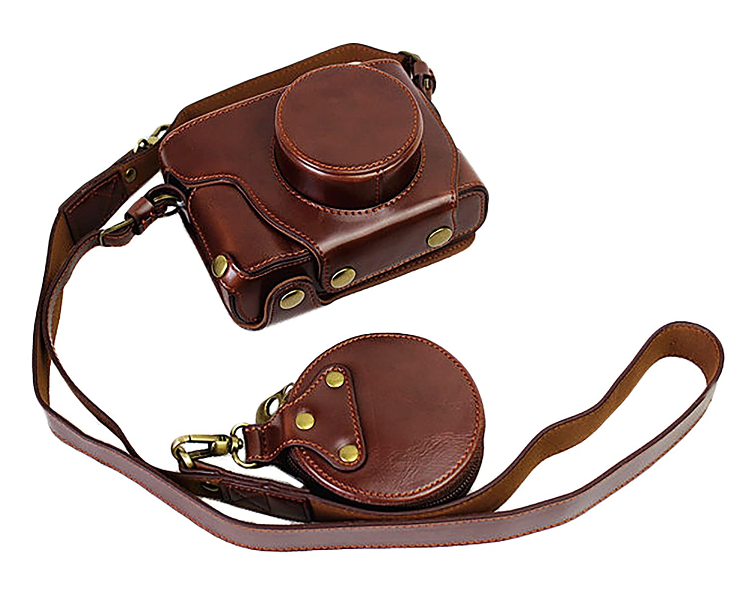 Full Protection Bottom Opening Version Protective PU Leather Camera Case Bag For Fuji Fujifilm x100f with Shoulder Strap Dark Brown