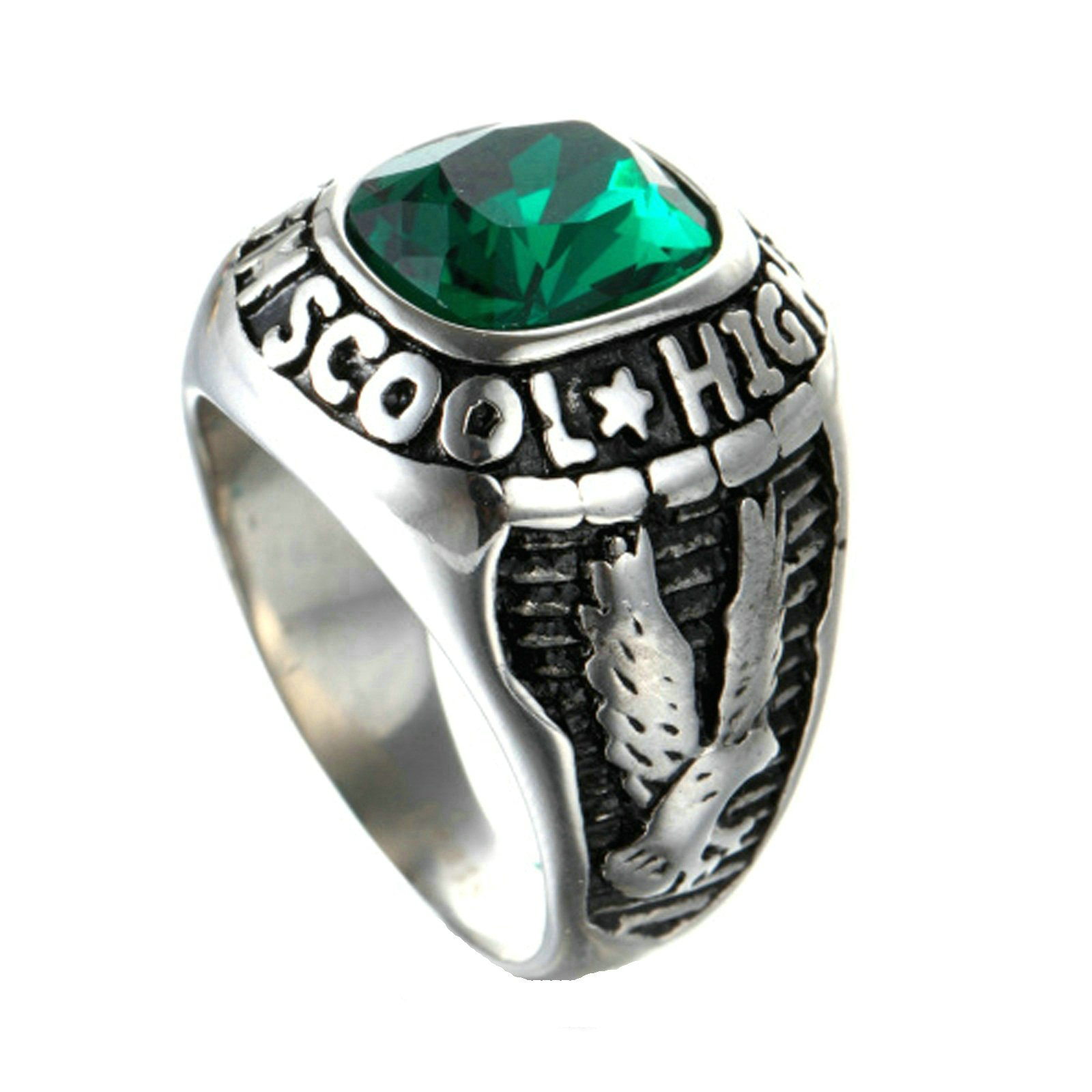 MoAndy Men Stainless Steel Vintage Retro Silver Green Gem Eagle Ring 2CM Size 10