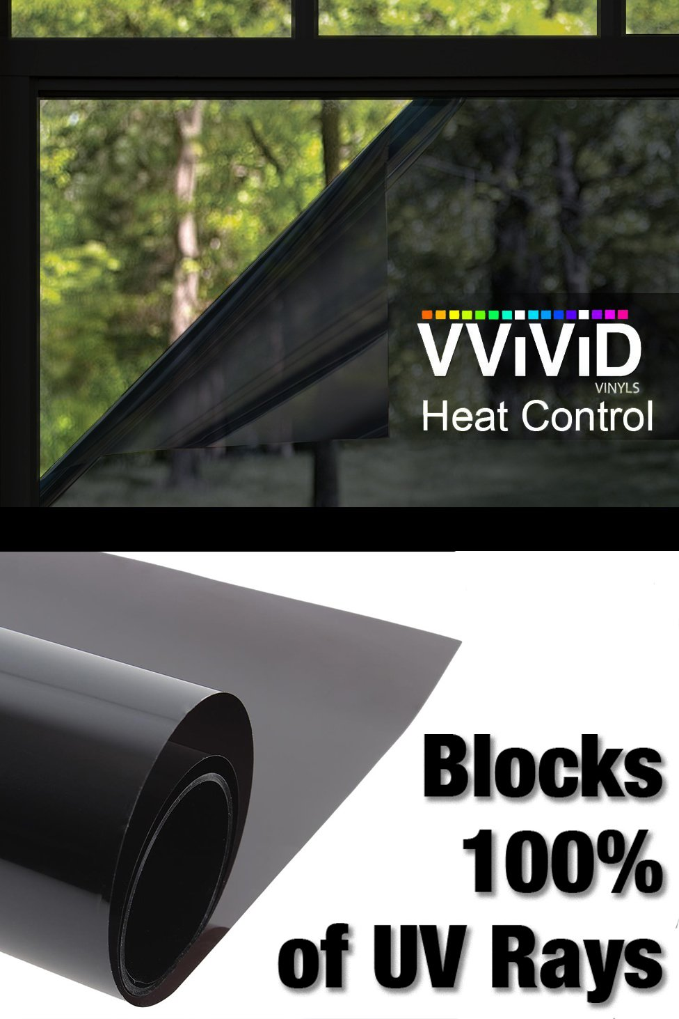Heat Control 100% Anti UV Residential Vinyl Wrap 17.9'' x 60'' Dark Tint Roll Home Office Climate Control