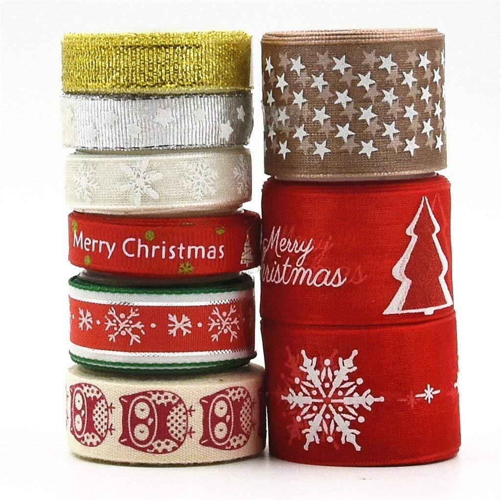 byou Cinta Navidad,Cintas de Grosgrain 9 Piezas 18 Yardas Ribbon Tela para Manualidades Lazos Decoración Embalaje Regalo Cajas Flores Arbol Navidad Boda Fiestas Cumpleaños