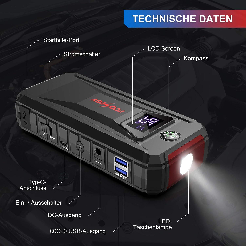 Auto Starthilfe Powerbank,2000Amp //21000 mAh Tragbare starthilfeger/ät f/ür 12V Fahrzeuge Bis zu 8,0 l Gas und Diesel ,/mit drahtlosem Ladeger/ät Autobatterieladeger/ät