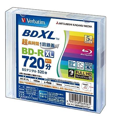 Verbatim BDXL Discos Blu-Ray, BD-R XL, 100GB, triple capa, apto para 3d, imprimibles, 5unidades