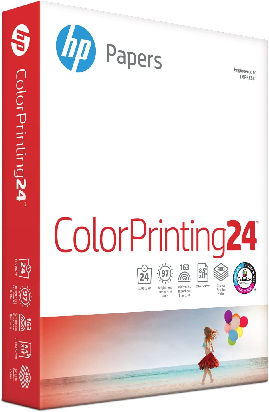 HP Printer Paper 8.5x11 ColorPrinting 24 lb 1 Pack 400 Sheets 97 Bright Made in USA FSC Certified Copy Paper HP Compatible 202040R