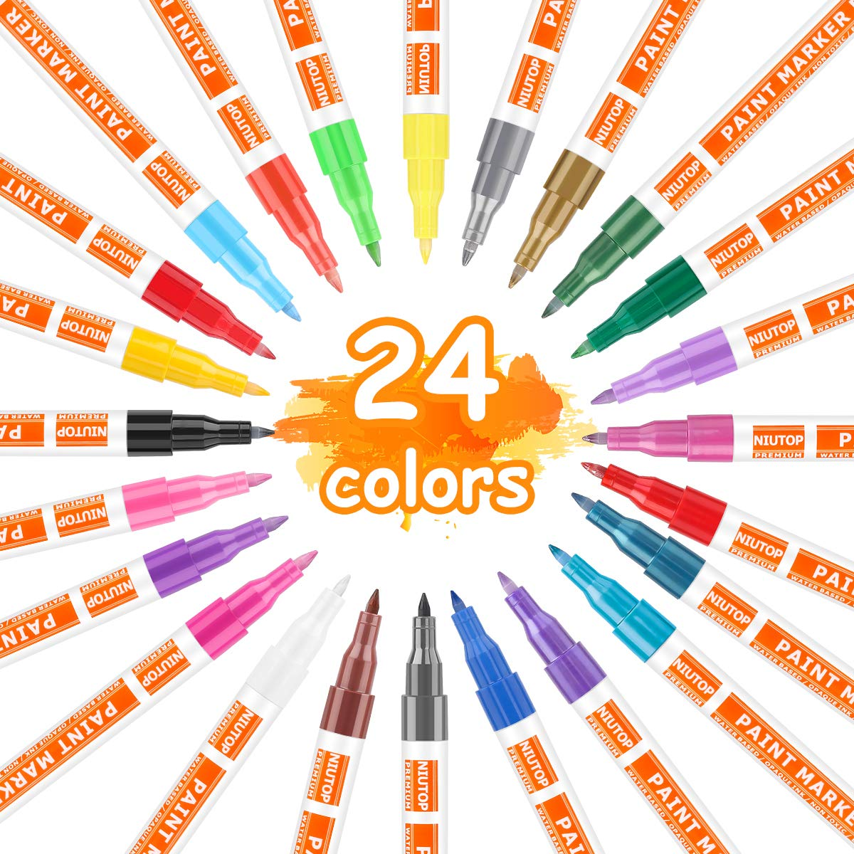Medium Point Ceramic Metal 32 Bright Colors Paint Markers Kit for Glass Stone Rock /& More Quick-Dry Fabric Acrylic Paint Pens for Rock Wood Acid Free Non Toxic Oil Based Paint Markers
