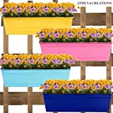 ATHENACREATIONS Set of 4 Rectangular Railing Planters | Planter Pot with Hanger | Gamla | Hanging Planter Basket for Home and Balcony - Yellow, Blue, Teal and Pink (18 Inch)