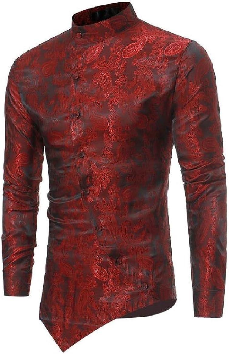 Sayah Mens Solid Stand Collar Modern Retro China Style Casual Dress Shirts Tops