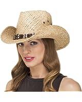 Chapeau de Paille Cowboy avec une Décoration Femme Fille pour l'Été LS14007