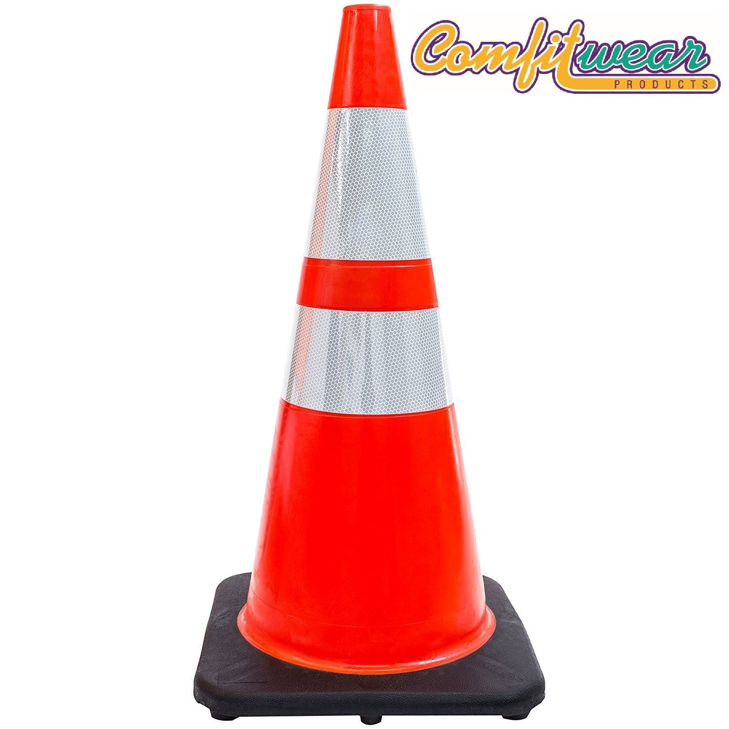Comfitwear FCC-600 Traffic Cones with 3M Reflective Collars, Orange, 28'' H