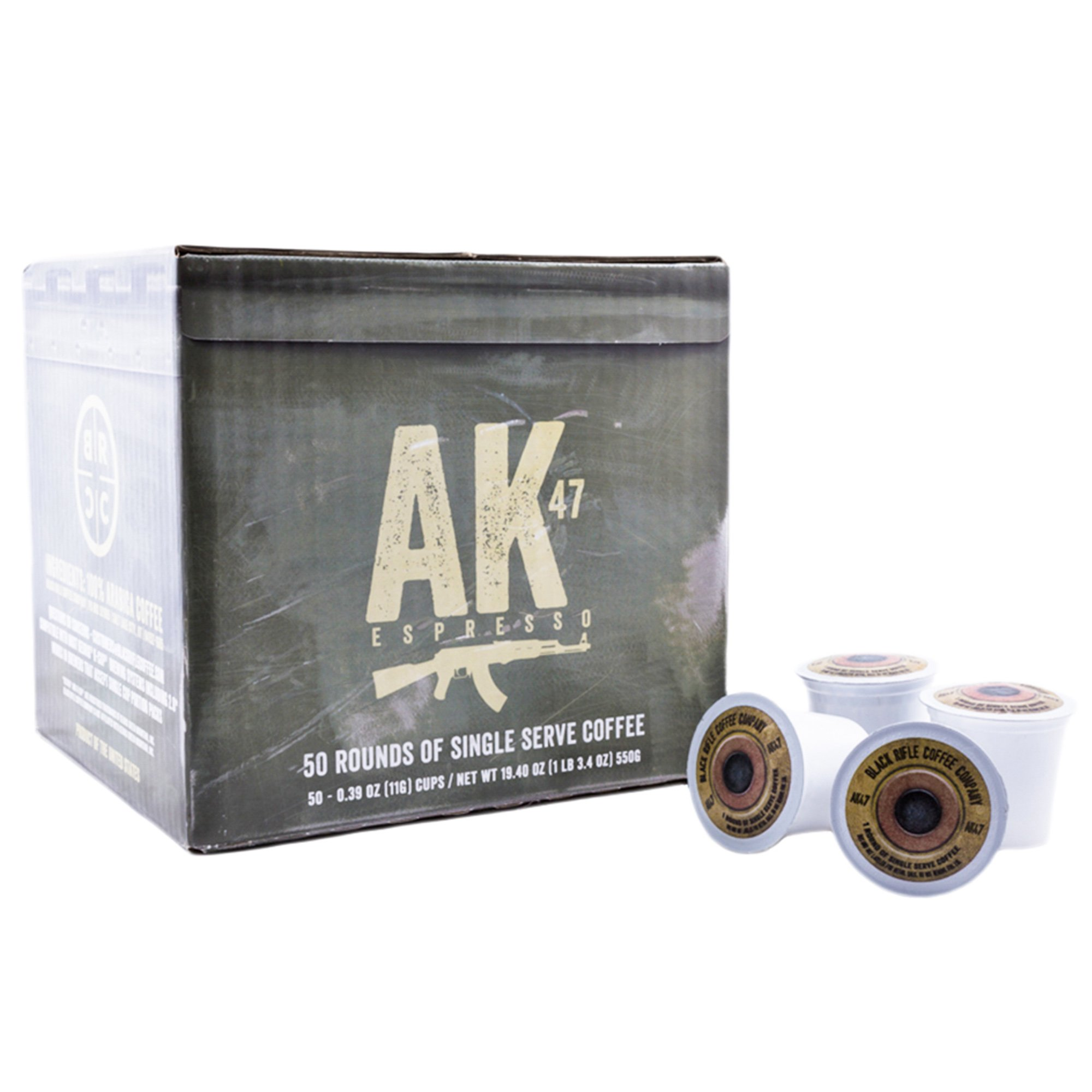 Black Rifle Coffee Company AK-47 Coffee Rounds for Single Serve Brewing Machines (50 Count) Medium Roast Coffee Pods Cups by Black Rifle Coffee Company