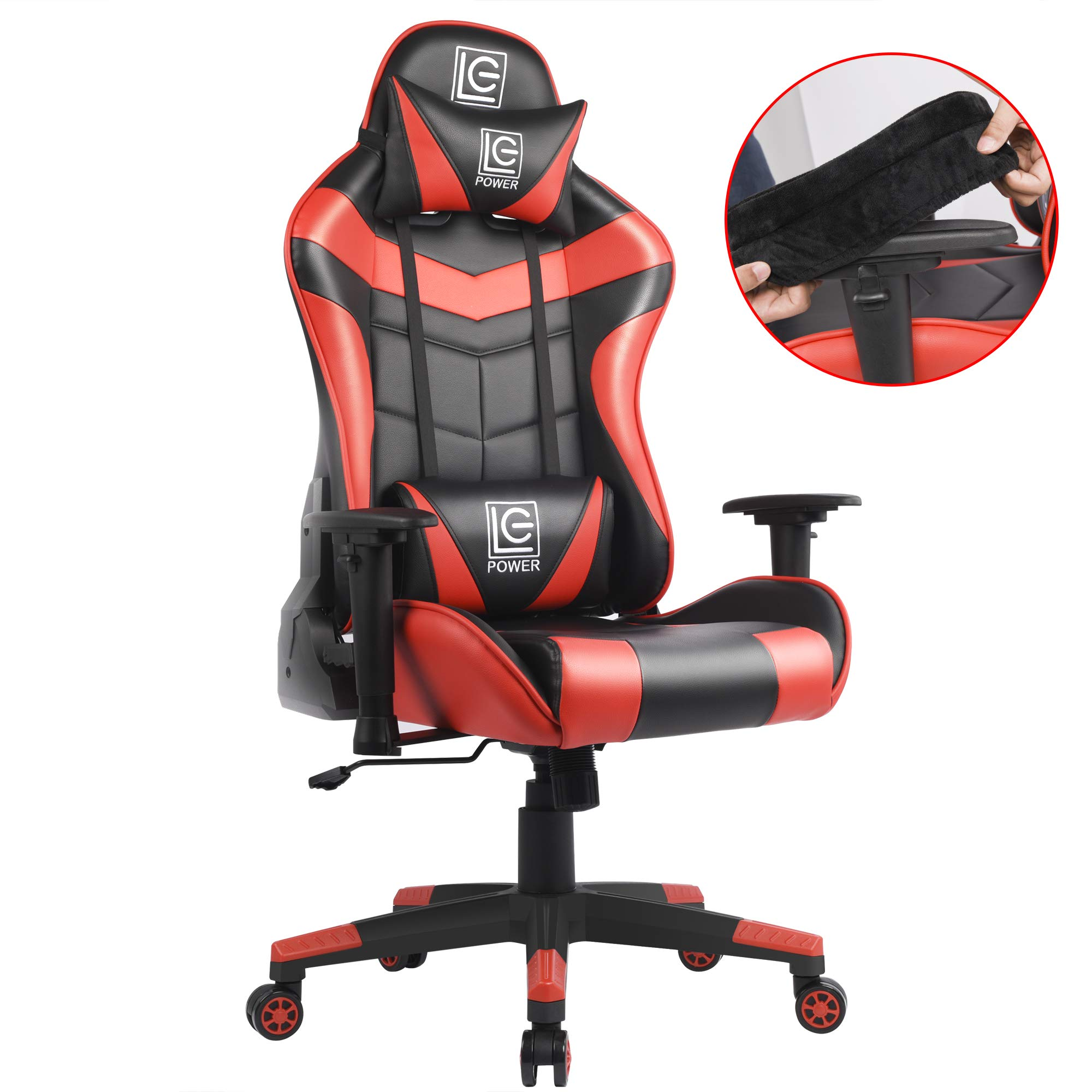 LC-Power Gaming Chair with Armrest Pads,Ergonomic Racing Style Computer Desk Chair Office Chair Lumbar Support with Backrest and Seat Height Adjustment for Women,Men(Red) by LC-Power