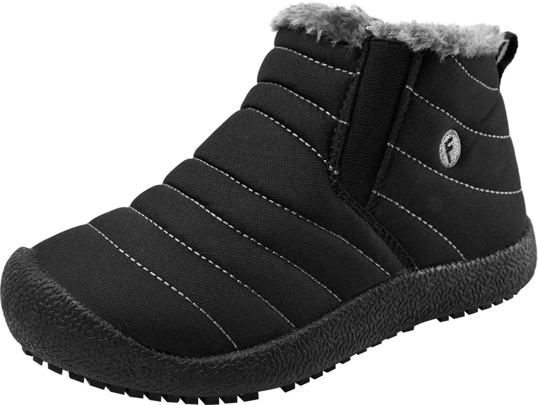Barerun Boy's Girl's Warm Winter Waterpoof Outdoor Snow Boots Black 2 M US Little Kid