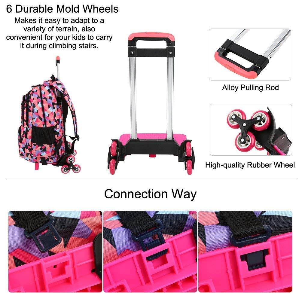 YEXIN Rollende Schulrucksäcke für Mädchen - Kids Print Pattern Trolley Trolley Trolley Schultasche 6 Wasserdichte Primärkindtasche Outdoor Reisen Nylon Abnehmbare Trolley Han B07LG5WW6H | Stil  | Trendy  | Beliebte Empfehlung  0a5b5d