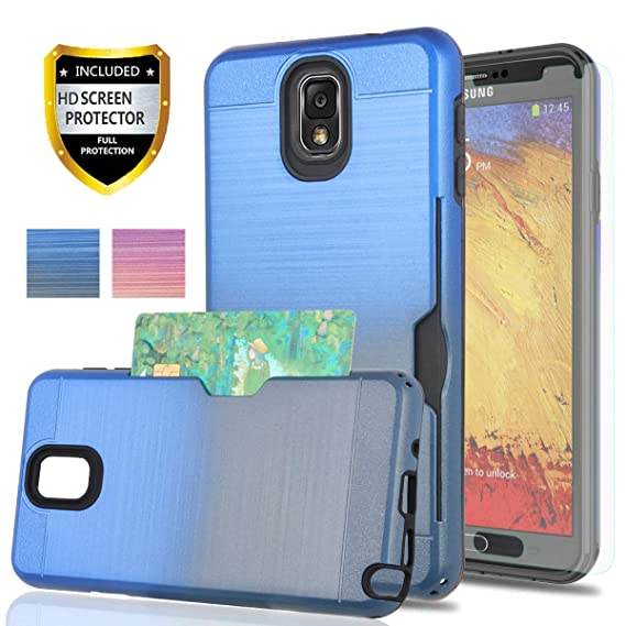 Galaxy Note 3 Case with Phone Screen Protector,YmhxcY[Credit Card Holder][Not Wallet] Dual Layer Shockproof Protective Cover for Samsung Galaxy Note ...