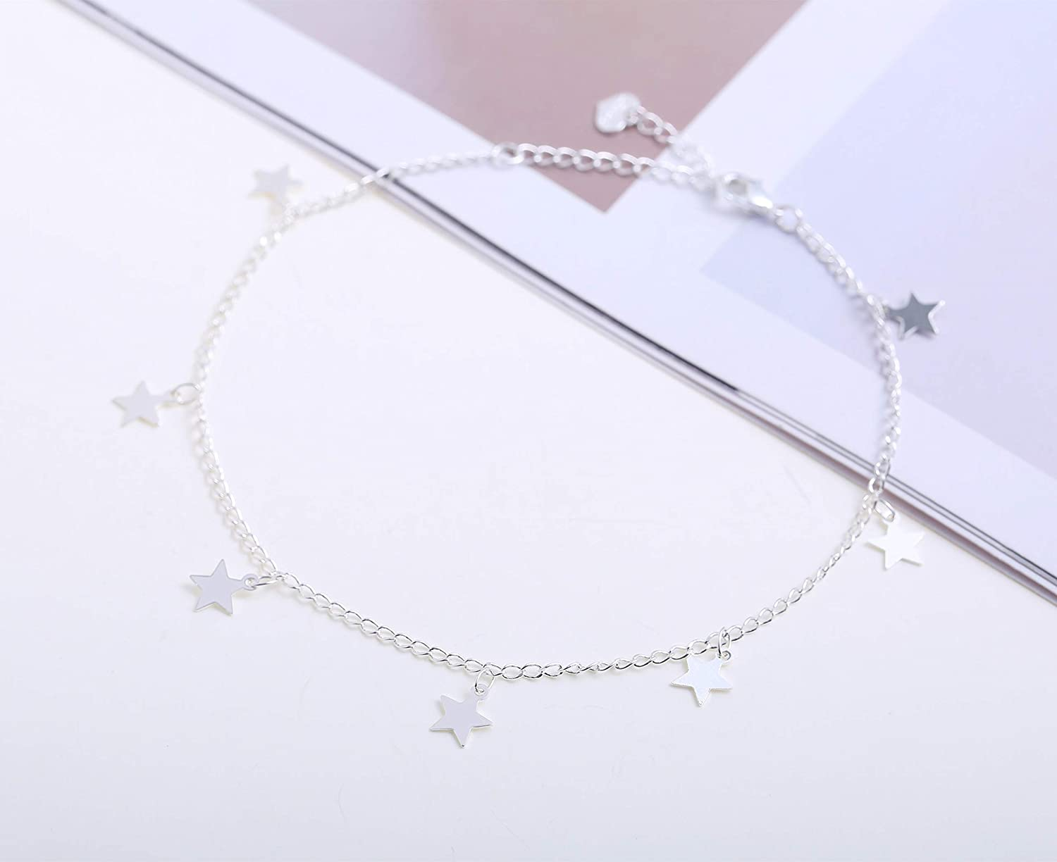 Fremttly Handmade Simple 14K Gold Plated//Silver Plated and Titanium Steel Butterfly Delicate Dainty Star and Bead Chain Thin Heart Pendant Choker Necklace for Womens