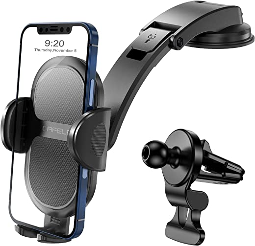 Cell Phone Car Mount, CAFELE Dashboard Phone Holder for Car, Car Phone Holder with Upgraded Air Vent Clip and Seamless Adhesive Vacuum Suction Cup, Fit with iPhone, Samsung, Moto, Nokia, LG and etc