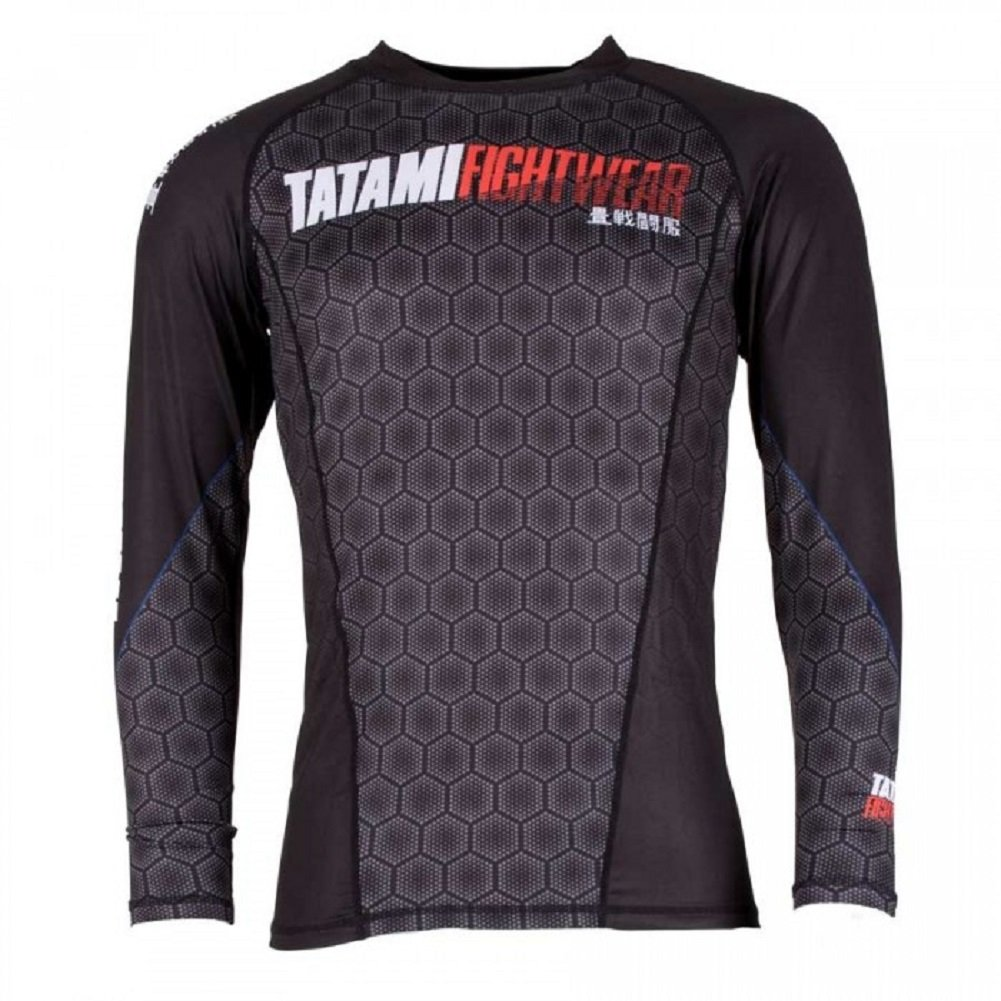 'Tatami Essentials Hexagonal Beads Black Rash Guard BJJ MMA Grappling Compression Shirt Shirt Tatami Fightwear