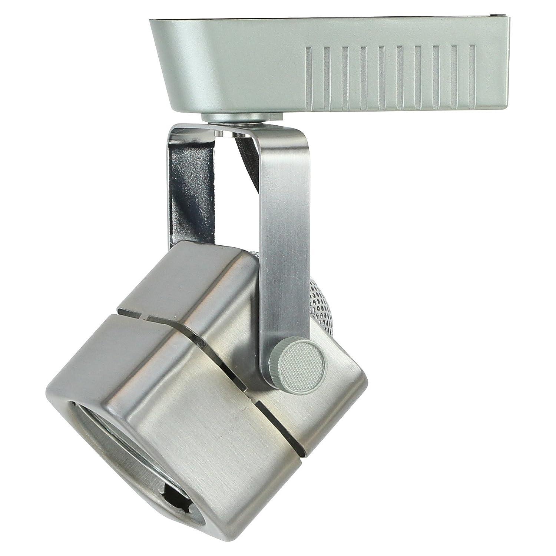 Direct-Lighting Brushed Steel MR16 Square Low Voltage Track Lighting Head