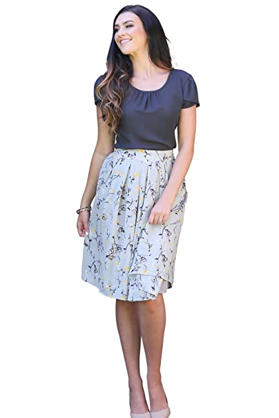 679516ecd44c Mikarose Pleated Full A-Line Modest Skirt In Gray w/Yellow Floral Print -