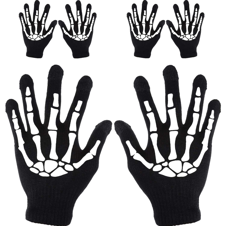 Tatuo Touchscreen Gloves Black Skeleton Mechanic Gloves for Halloween (3 Pairs)