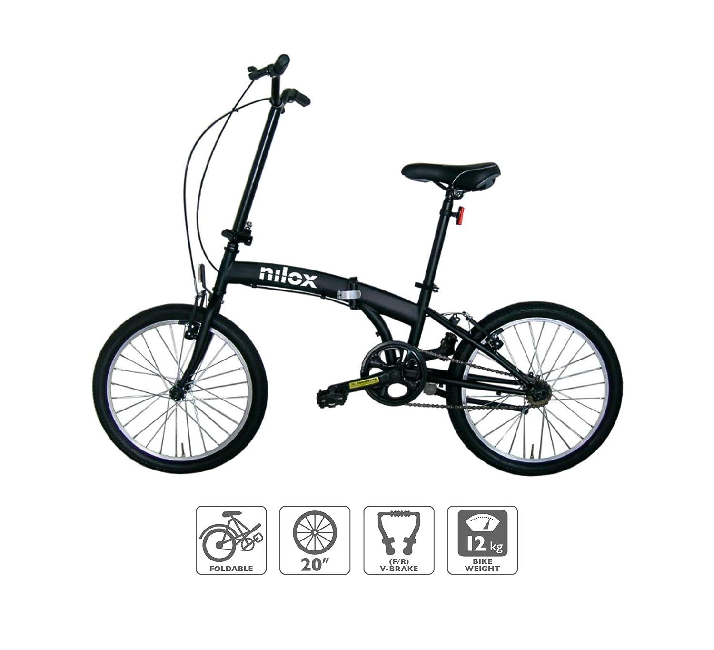 Bicicleta 20 Plegado, Completo, Acero, Negro, 50,8 cm Nilox X0 bicicletta Completo Acero Negro Adultos Unisex , Cadena