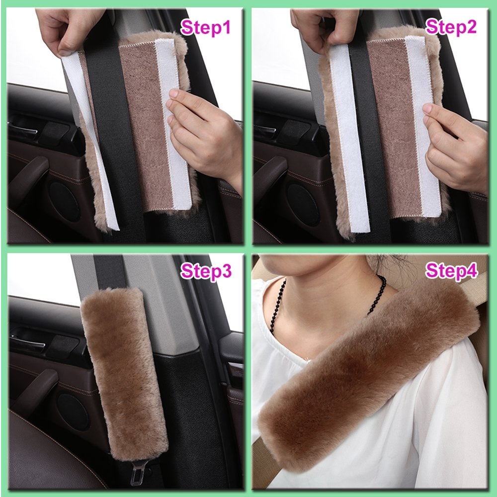 Soft Texture Shoulder Neck Cushion Pad Protector 2 Pack Natural Fur Comfort Auto Authentic Sheepskin Car Seat Belt Pads for Adults Genuine Australia Merino Wool Cover Blue Gray