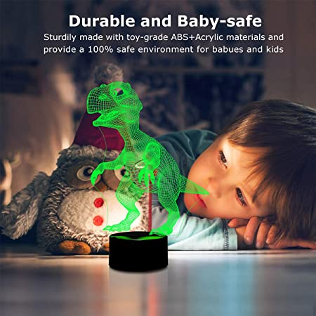 3D Night Lights for Children, Kids Night Lamp, Dinosaur Toys for Boys, 7 LED Colors Changing Lighting, Touch USB Charge Table Desk Bedroom Decoration, ...