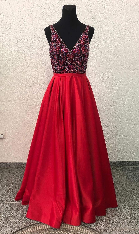 Ela Boutique Abendkleid rot/schwarz, lang, Glitzer, Bestickung