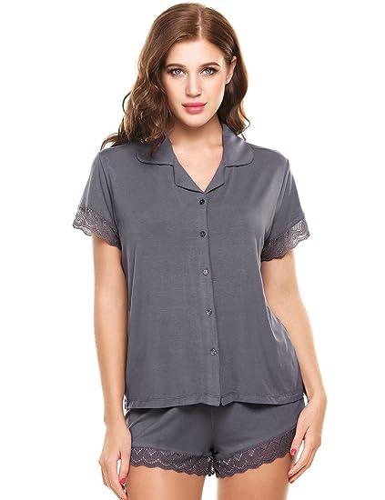 887218b0b1 Goldenfox Women Lady s Pajama Viscose Cami and Short Pants Sets 2 Pieces  (Gray