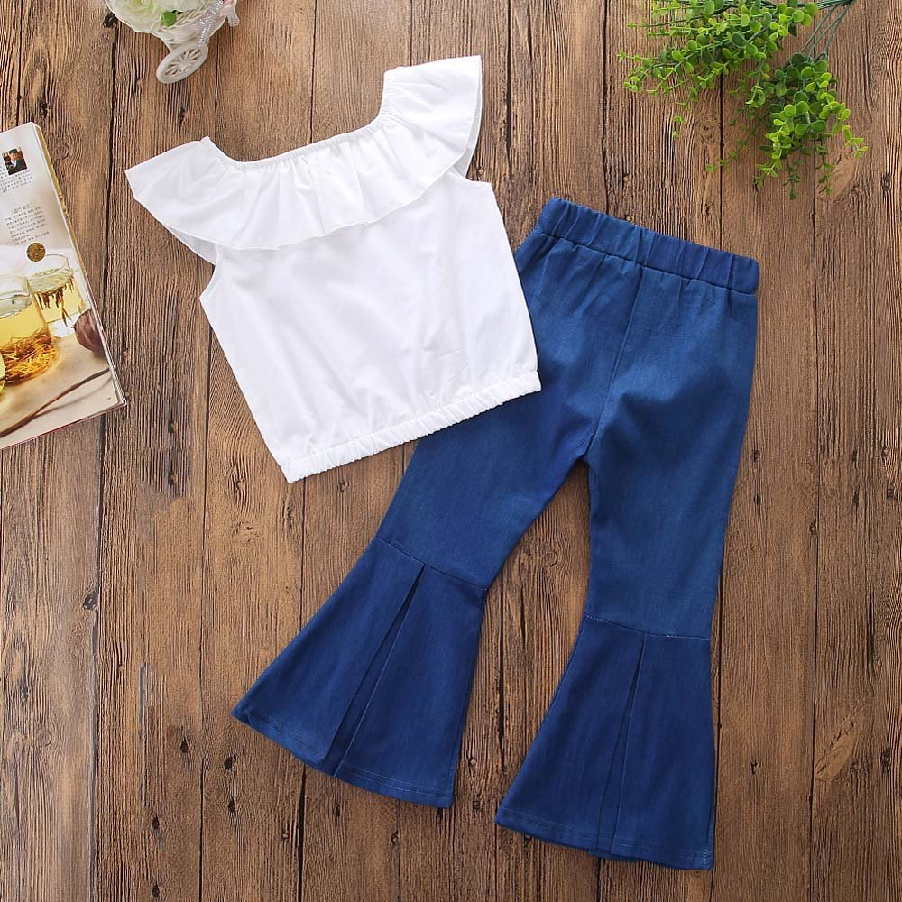 Samgami Baby Girls Clothing Set Sleeveless Tops Wide-Legged Jeans Pants Outfits Clothes Suit