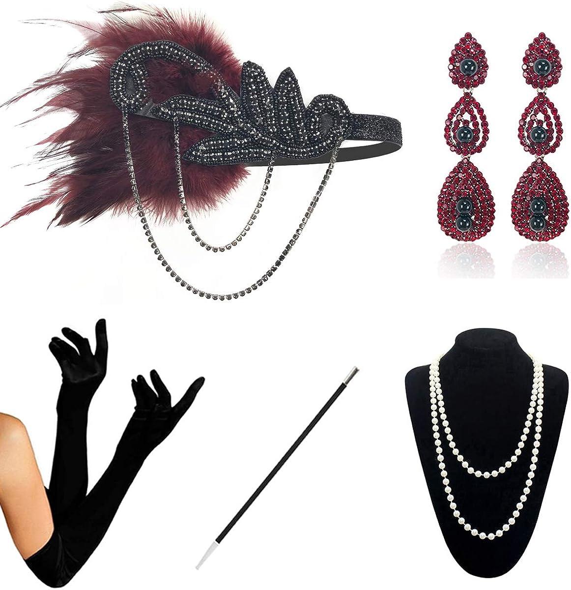 KQueenStar - Diadema Flapper con guantes, largos, para llevar cigarrillos, bandas de época con pluma de plata 1920 de las mujeres