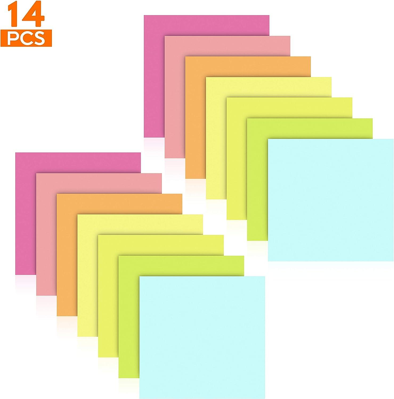 Notes Autocollants 75 x 75 mm,14 Pads 7 Couleurs Feuillets Autocollants 80 Feuilles par Pad STARVAST Sticky Notes