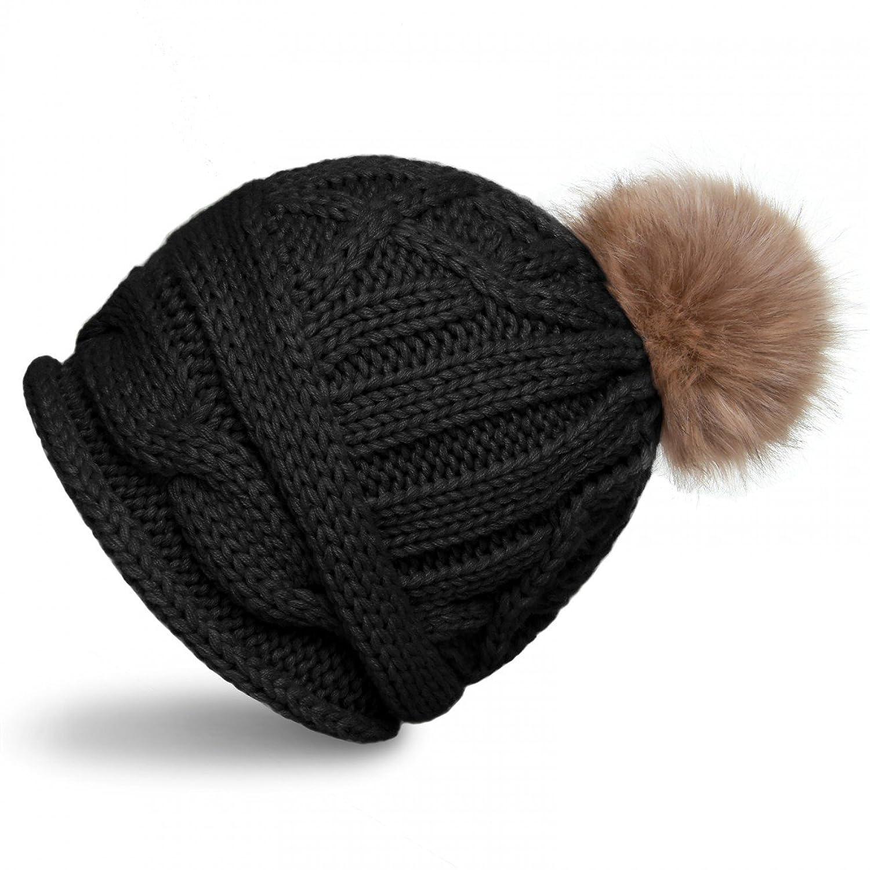 CASPAR Damen Winter Mütze / Strickmütze / Beanie mit Fellbommel und Zopfmuster - viele Farben - MU091