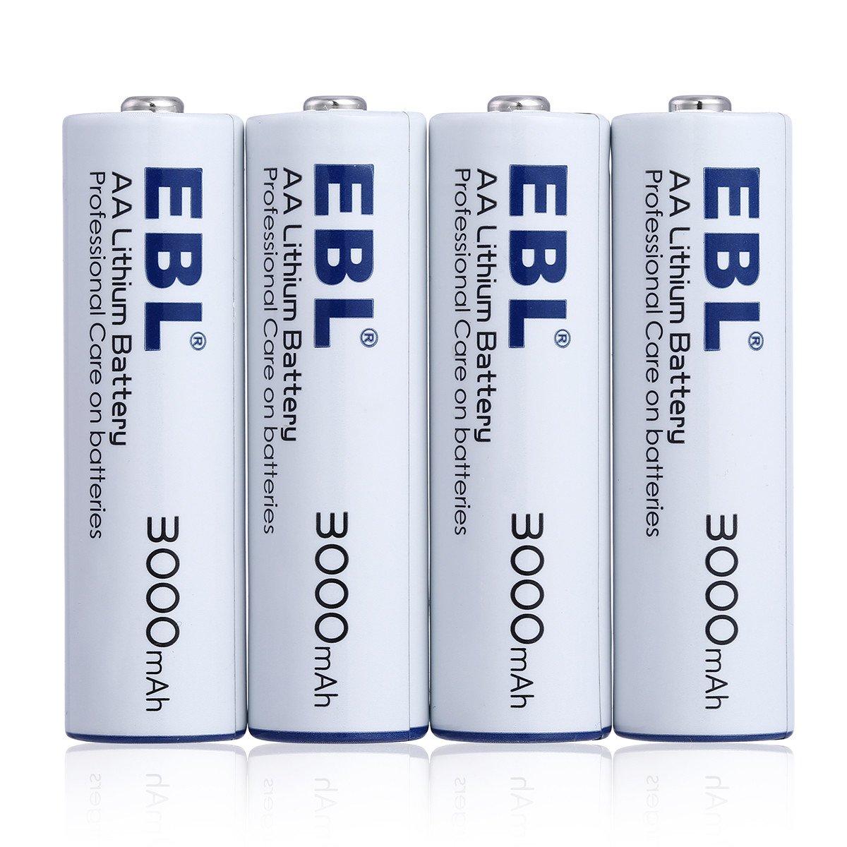 EBL Haltbarkeit Lithium Batterie AA Lithium Einwegbatterie 4er Pack mit Aufbewahrungsbox