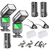 Neewer NW565EX I-TTL Flash Esclave Speedlite Kit pour Nikon DSLR, Comprend: (2) Flash TTL+ (1) 2.4G Déclencheur sans fil+ (2)Diffuseurs + C1/C3 Câbles +(2)Capuchon d'Objectif