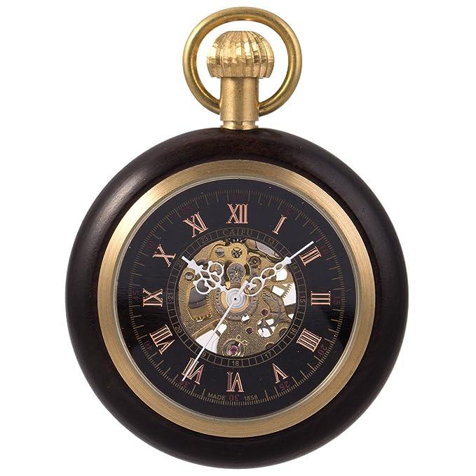 Reloj de Bolsillo con Cadena - mecánico manchda Mens Imitacion Madera Luminoso Skeleton Dial + Caja