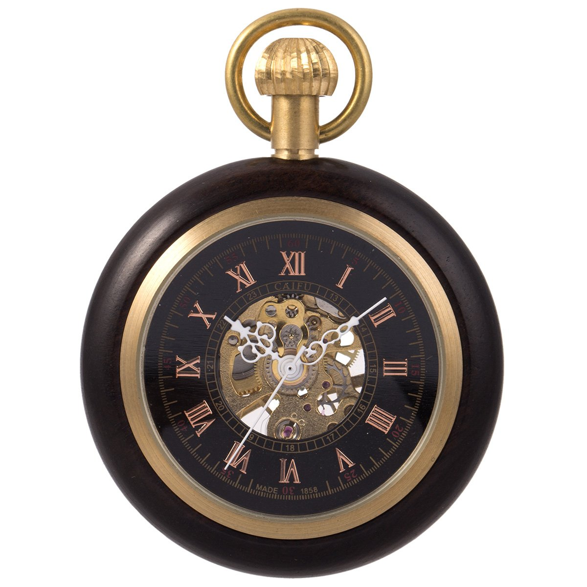 Steampunk Mechanical Skeleton Pocket Watch - Black ManChDa Roman Copper Wooden with Chain Gift Box by ManChDa