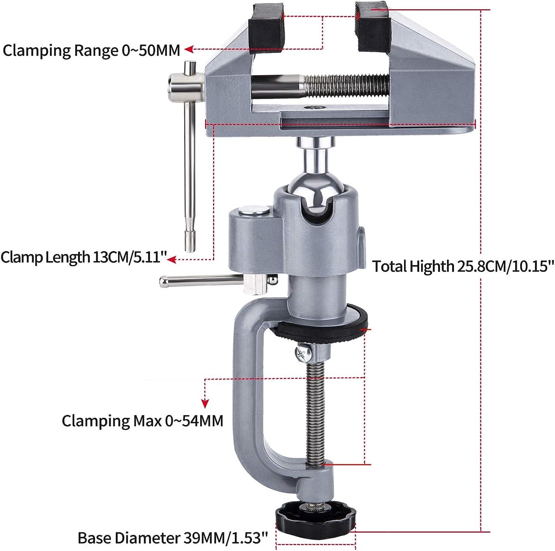 OCGIG Mesa Doble Prop/ósito Banco Giratorio 360 Grados Soporte de Molino Rotativo Abrazadera Universal 0-50mm//38-41mm