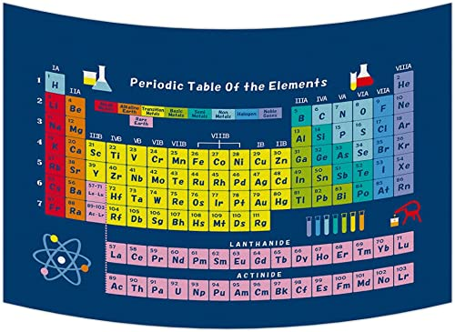 Custom Periodic Table of Chemical Elements Tapestry Wall Hanging,Wall Art, Dorm Decor,Wall Tapestries Size 90×60 inches