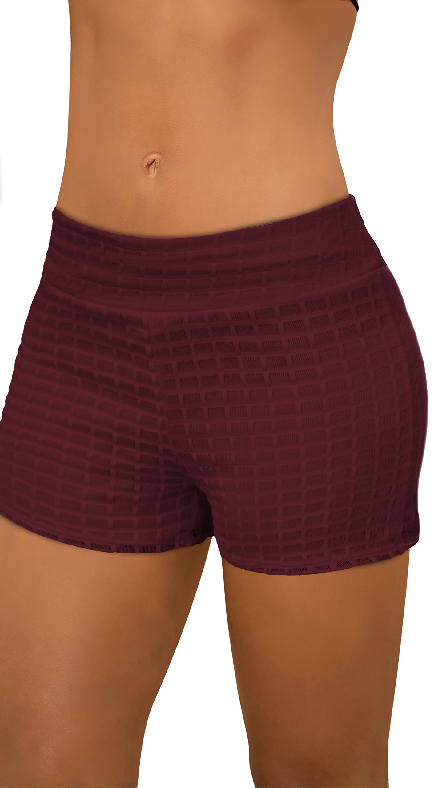 Womens Fashion Lace Shorts-KSH46124-4027-WINE-L