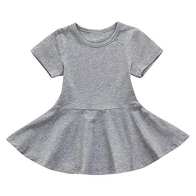 Hatoys Candy Color SundressToddler Kids Baby Girl Short Sleeve Solid Princess Tutu Casual Dress