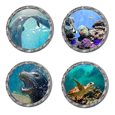 4 PCS Removable 3D Under The Sea Nature Scenery Wall Decals Animals Wall Sticker Home Wall Art Decor for Bathroom Bedroom Door Kids Baby Nursery Room Includ Sea Turtles Dolphins Sea Lions Coral: Home Improvement