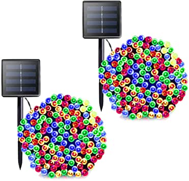 Multi Color 200 LEDs Outdoor Lights String 2 Modes 4 Colors Christmas Colourful Solar Lights 72FT Waterproof Decorative Garden Lighting for Home Holiday Pary Wedding Patio Solar Garden String Lights