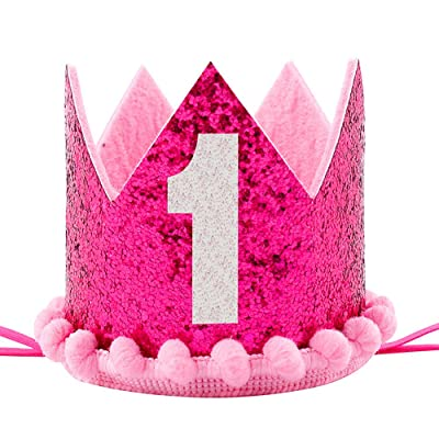 Maticr Sparkled First 1st Birthday Crown Baby Girl Princess Headband Party Supplies for Cake Smash (Hot Pink): Toys & Games