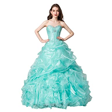 79b6d826dba Leyidress Quinceanera Dress Blue Ball Prom Gown Sweet 16 Dress Formal Dress  for Grils US 2
