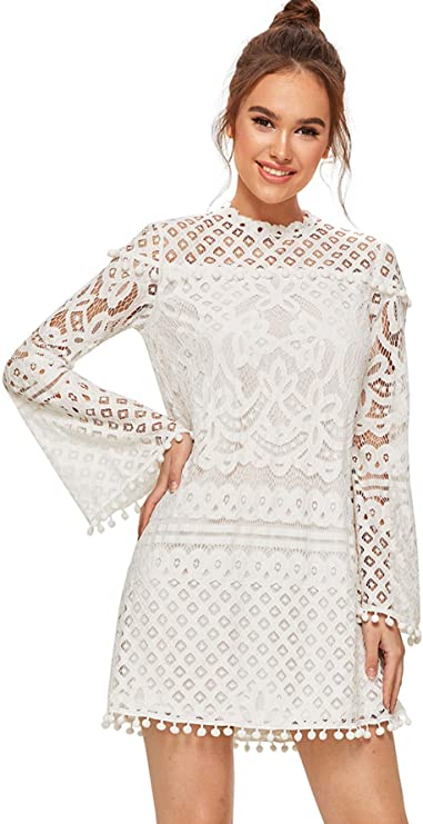 SheIn Women's Crochet Pom-pom Sheer Lace Bell Sleeve Dress