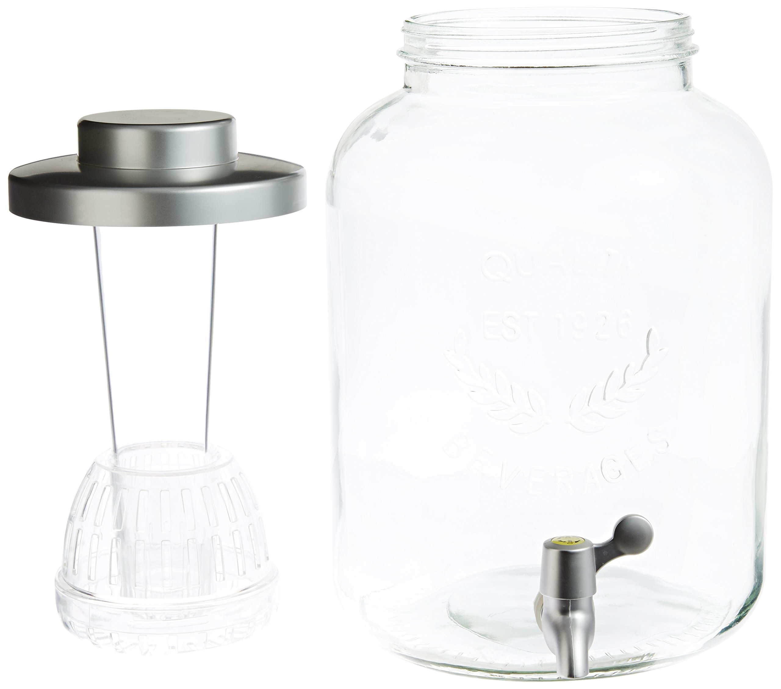 Artland Masonware Beverage Jar with Chiller and Infuser, 6 Mason Jars, Faux Wicker Stand by ARTLAND (Image #3)