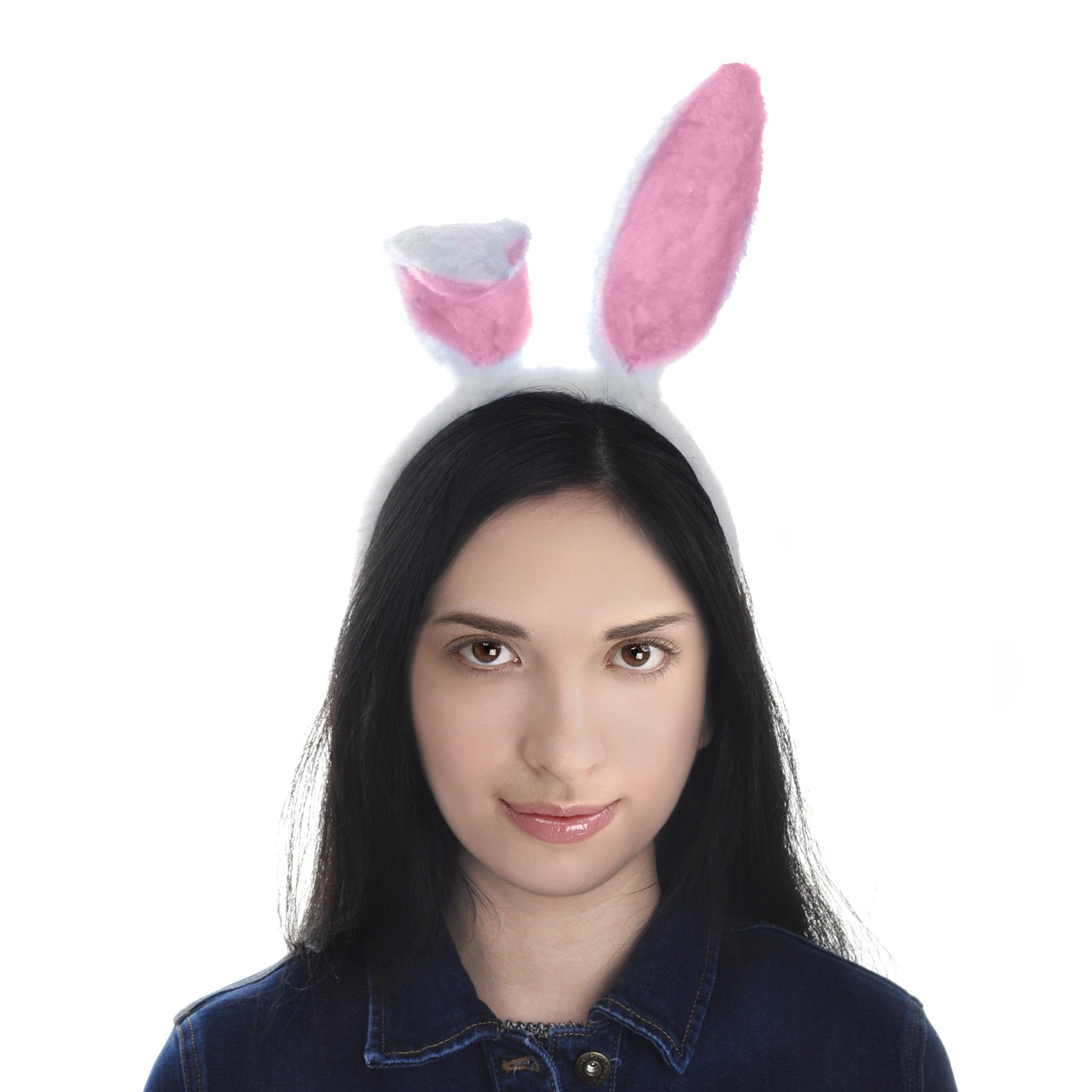 Toptie Easter Bunny Ears Headband, Soft Touch Plush Cosplay Party Suppliers-White-1pc by TOPTIE (Image #5)