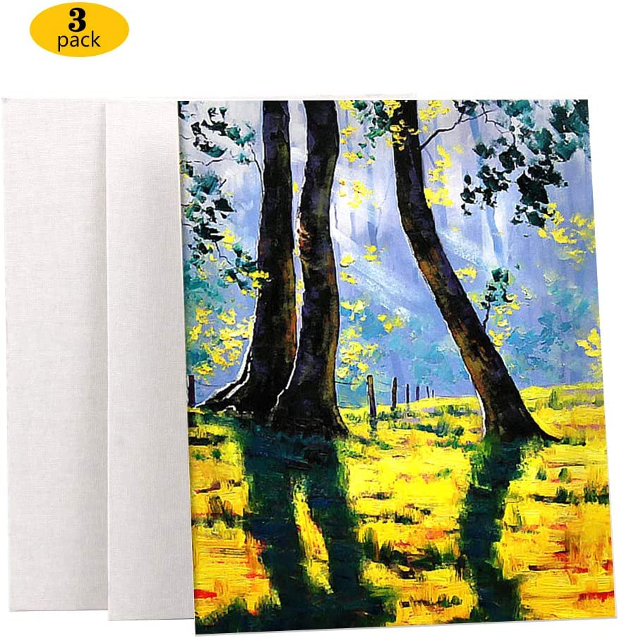 11.8inch*15.7inch Acid-Free Ideal for Acrylic or Oil Paints Medium Weight Blank Canvas 3pcs Cotton Stretched Canvas,Double Acrylic Primed Painting Canvas with Wooden Frame