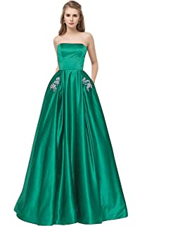 Libaosha Satin Strapless Formal Gowns with Beaded Pockets Lace Up Back Prom  Dresses Long eaa1fc28c