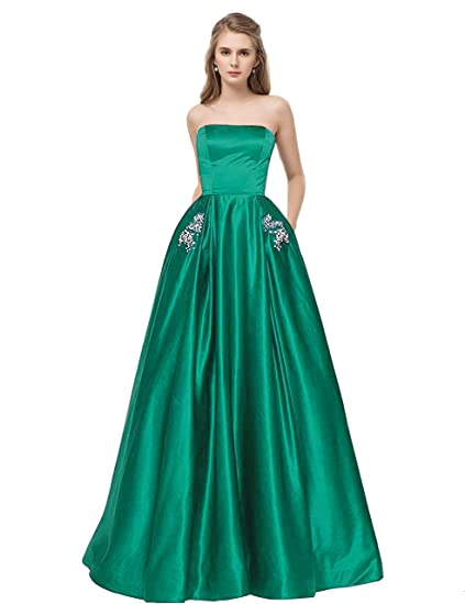 b132d52362 Libaosha Satin Strapless Formal Gowns with Beaded Pockets Lace Up Back Prom  Dresses Long